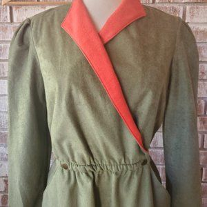VINTAGE Green Faux Wrap Dress